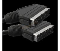 Шнур Скарт штекер-Скарт штекер (21пин-21пин, пластик-никель), передача сигналов RGB первичных цветов